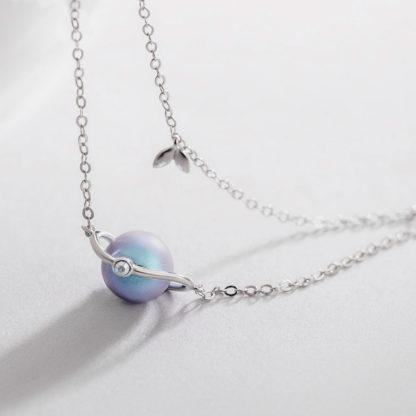 Bratara cu lant dublu de argint si perla Misty Forest