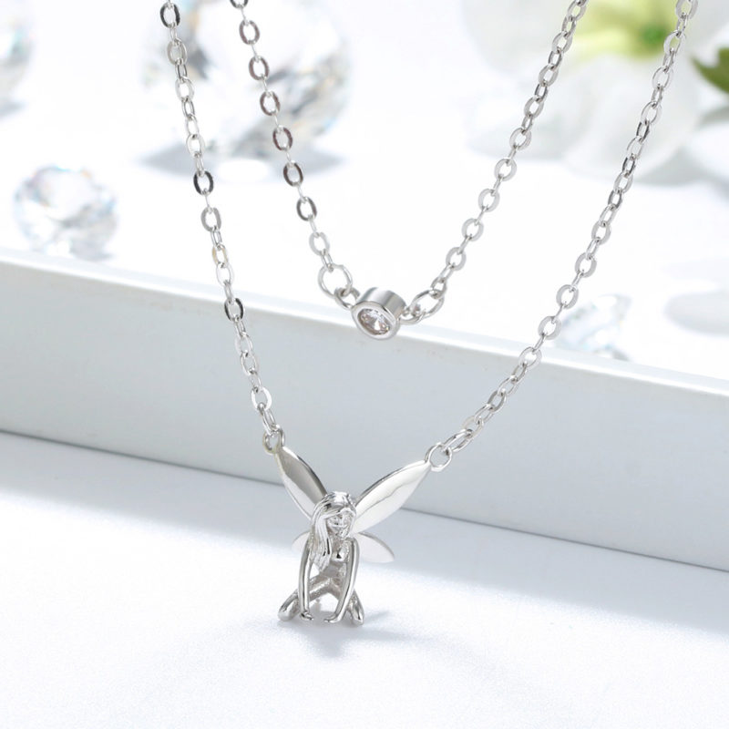 Colier cu lant dublu de argint Forest Fairy (6)
