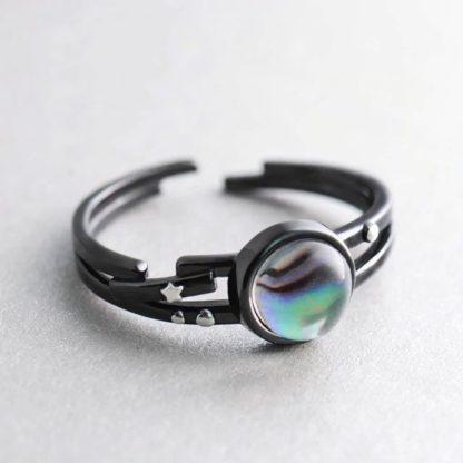 Inel de argint negru cu piatra unicat Andromeda