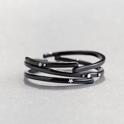 Inel de argint negru multiplu Andromeda