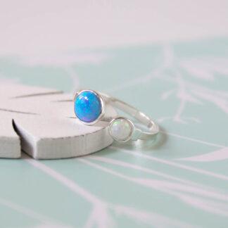 Inel reglabil din argint cu opale Ocean (2)