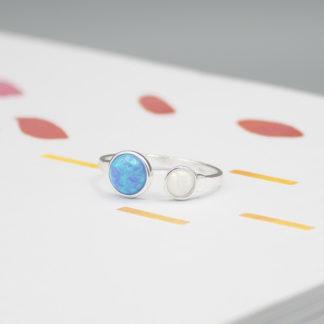 Inel reglabil din argint cu opale