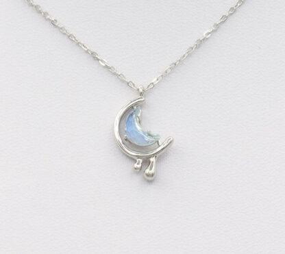 Lant de argint cu cristal semiluna Crying Moon