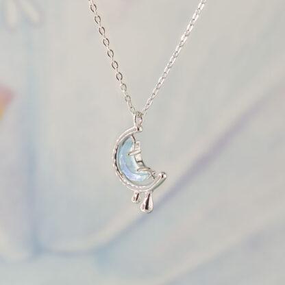 Lant de argint cu cristal semiluna Crying Moon (3)