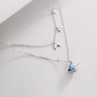 Lant de argint dublu cu perla hanadama Misty Forest