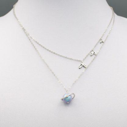 Lant de argint dublu cu perla hanadama Misty Forest (6)