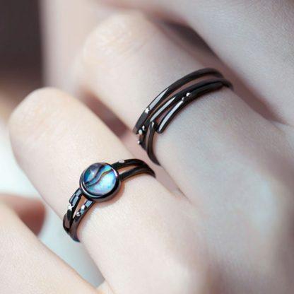 Set inele cuplu de argint negru Andromeda-1