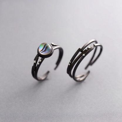 Set inele cuplu de argint negru Andromeda