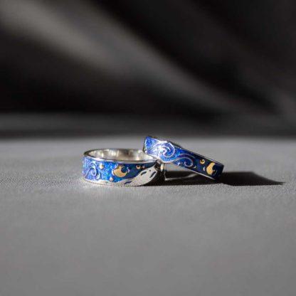 Set inele cuplu de argint cu email colorat Blue Night