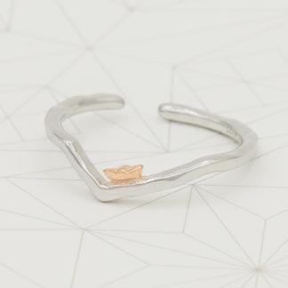 inel de argint minimalist asimetric Barcuta de hartie