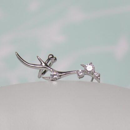 Cercei de argint pe ureche cu ear cuffs Majestic