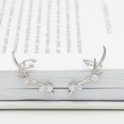 Cercei de argint pe ureche cu ear cuffs cerb Majestic-a