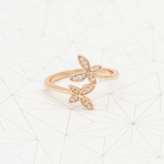 Inel de argint roz cu cristale Fluturi (5)