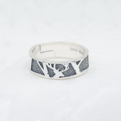 Inel din argint reglabil cu model texturat 3D pentru barbati Majestic