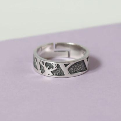 Inel din argint reglabil cu model texturat 3D pentru barbati Majestic (4)