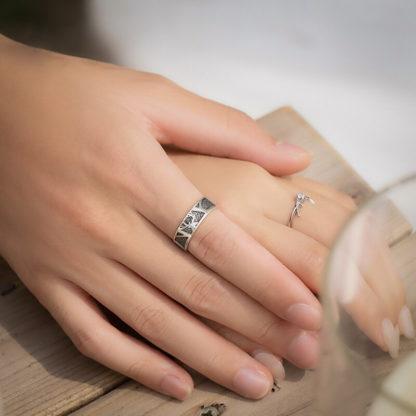 Inele cuplu de logodna cu model 3D si cristal Majestic