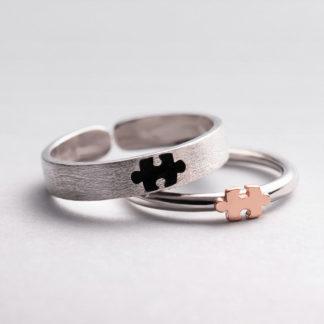 Inele cuplu de logodna din argint Puz
