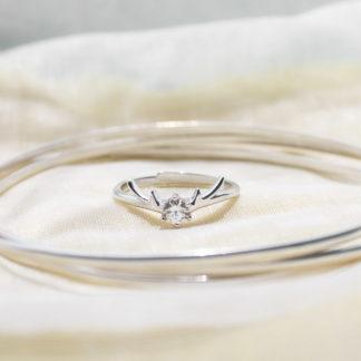 cerb-Inel reglabil de logodna din argint cu cristal Majestic (2)