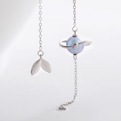 Cercei asimetrici lungi din argint cu perla Misty Forest (3)
