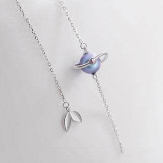 Cercei asimetrici lungi din argint cu perla Misty Forest