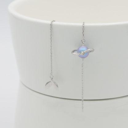 Cercei asimetrici lungi din argint cu perla Misty Forest (7)
