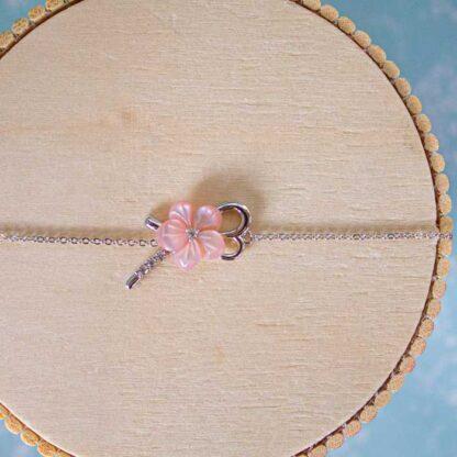 Bratara de argint cu floare roz Primavara (6)