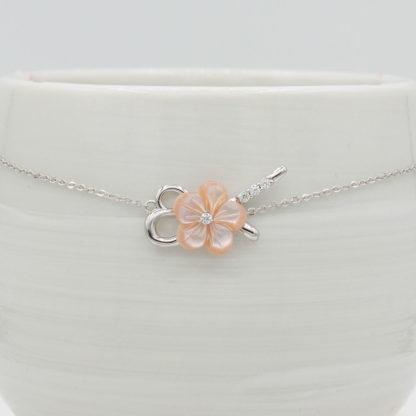 Bratara de argint cu floare roz Primavara (4) v2