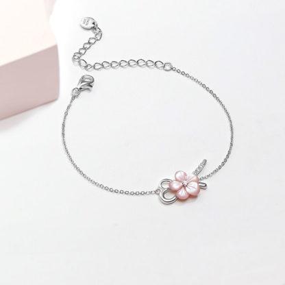 Bratara de argint cu floare roz Primavara