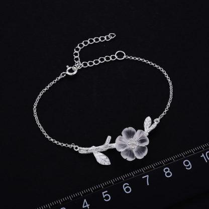 Bratara de argint cu pandantiv Floare de sticla (6)