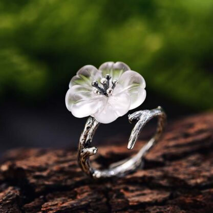 Inel din argint mare reglabil, Floare de sticla (2)
