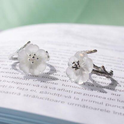 Inel din argint mare reglabil, Floare de sticla