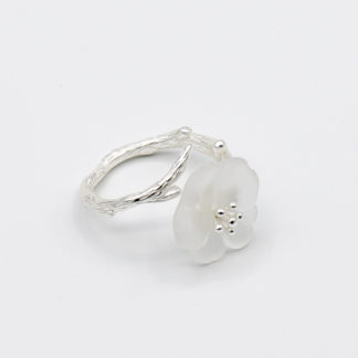 inel argint floare de stilca