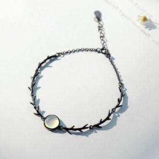 bratara neagra de argint cu piatra spike-1
