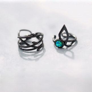 cercei de argint negru ear cuff Elven Spirit
