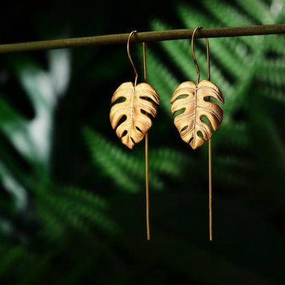 cercei din argint gold leaf