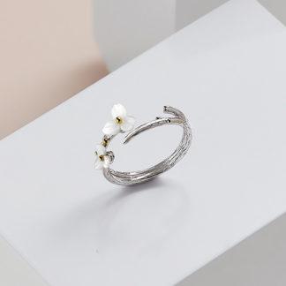 inel de argint dublu reglabil Floare Alba