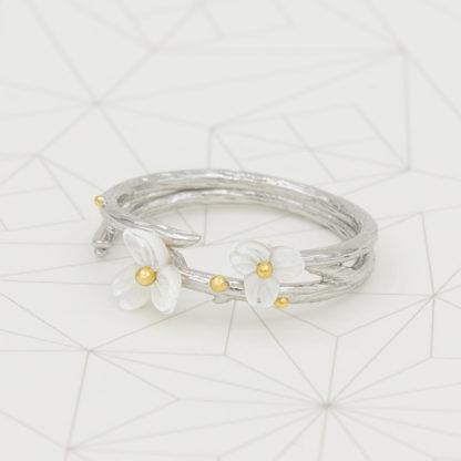 inel de argint dublu reglabil Floare Alba (2)