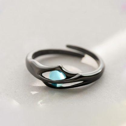 inel reglabil din argint negru cu cristal Hidden Magic