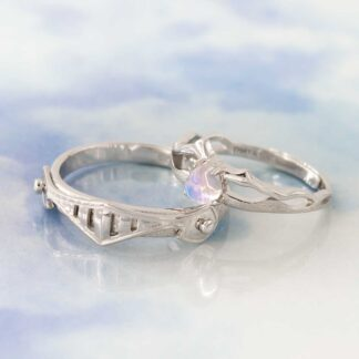 set inele de argint pentru cuplu Cavaler si Printesa