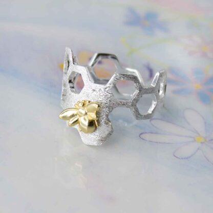 Inel din argint mat satinat Fagure