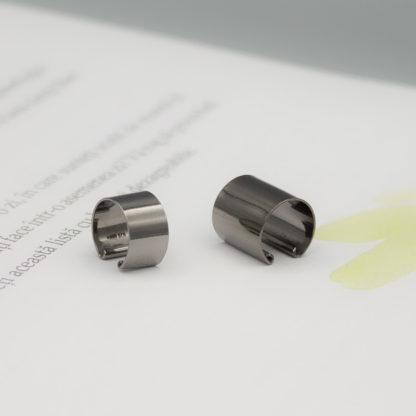 Ear cuff minimalist negru din argint Simple