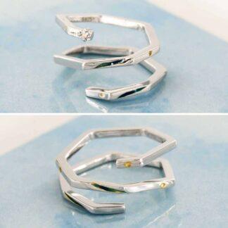 Inele pereche, spirala de argint, Geometric_set cuplu