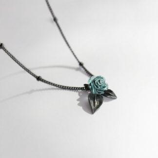 Lantisor choker negru din argint Dark Rose