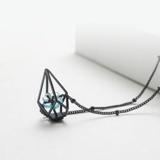 Colier negru choker din argint Terrarium