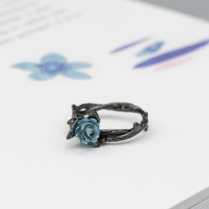 inel negru din argint cu floare dark rose (4)