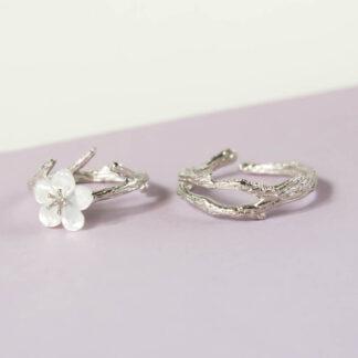 set inele din argint texturat Sakura (8)