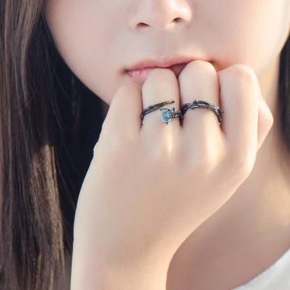 set inele negre din argint texturat dark rose-2