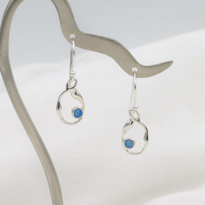 Cercei din argint atarnatori cu opal Aqua (3)