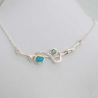 Colier din argint cu opale duo Aqua-1