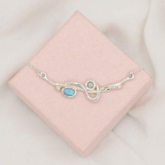Colier din argint cu opale duo Aqua
